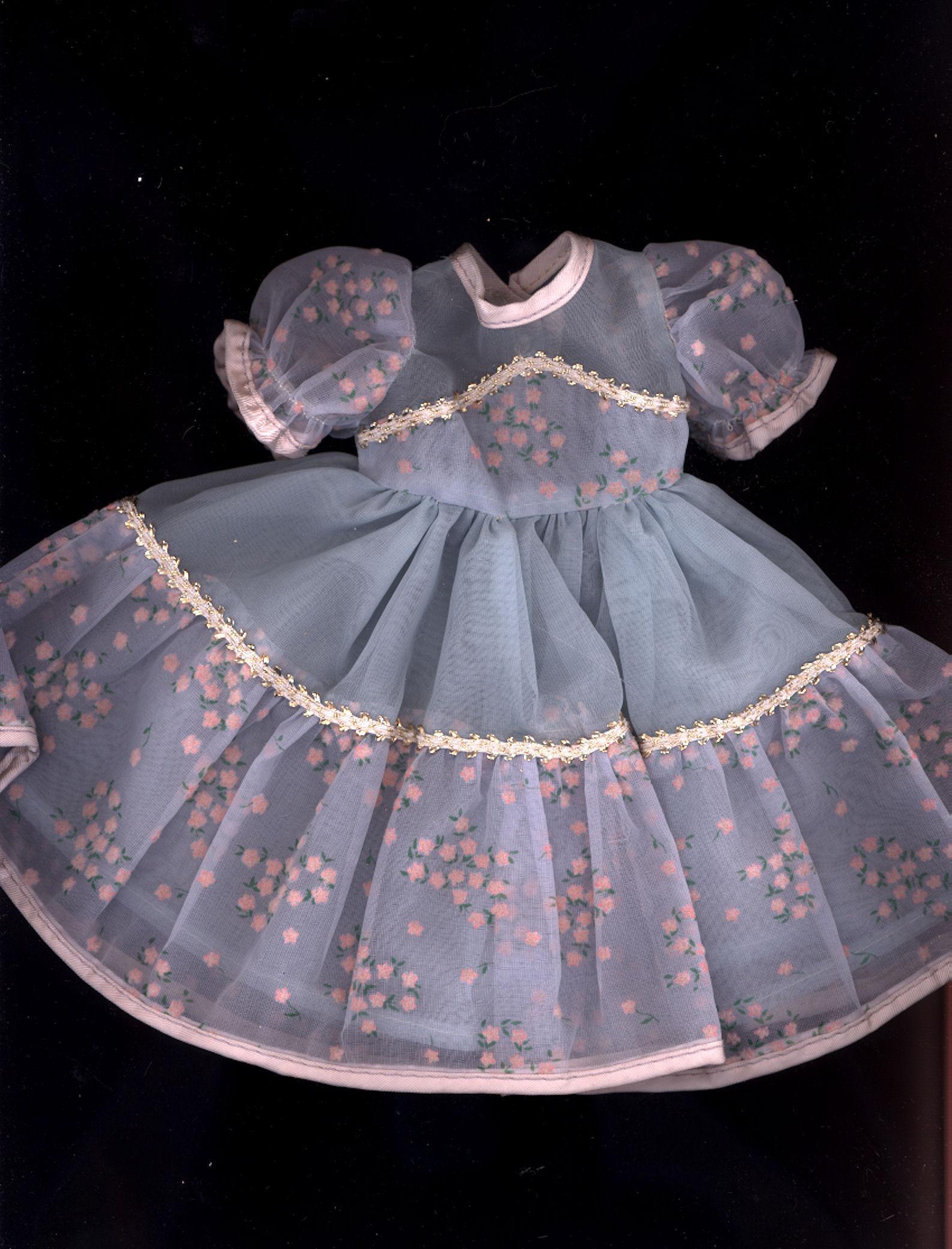 Vintage Blue flocked Nylon Doll Dress