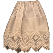 Vintage Eggshell Cotton and Lace Doll Slip