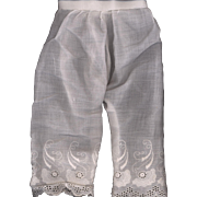 Antique White Cotton Doll Pantaloons for a Larger Doll