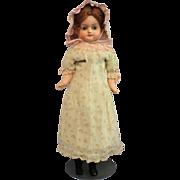 Antique Patent Washable Papier Mache Doll in Original Antique Clothing
