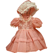 Vintage 1950's Pink Nylon Baby Doll Dress with Bonnet