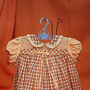 Vintage Cotton Baby Dress in Peach Plaid