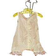 Vintage White Cotton Doll Romper Buttons in Back