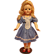 Vintage Factory Made Blue Dotted Swiss Doll Dress