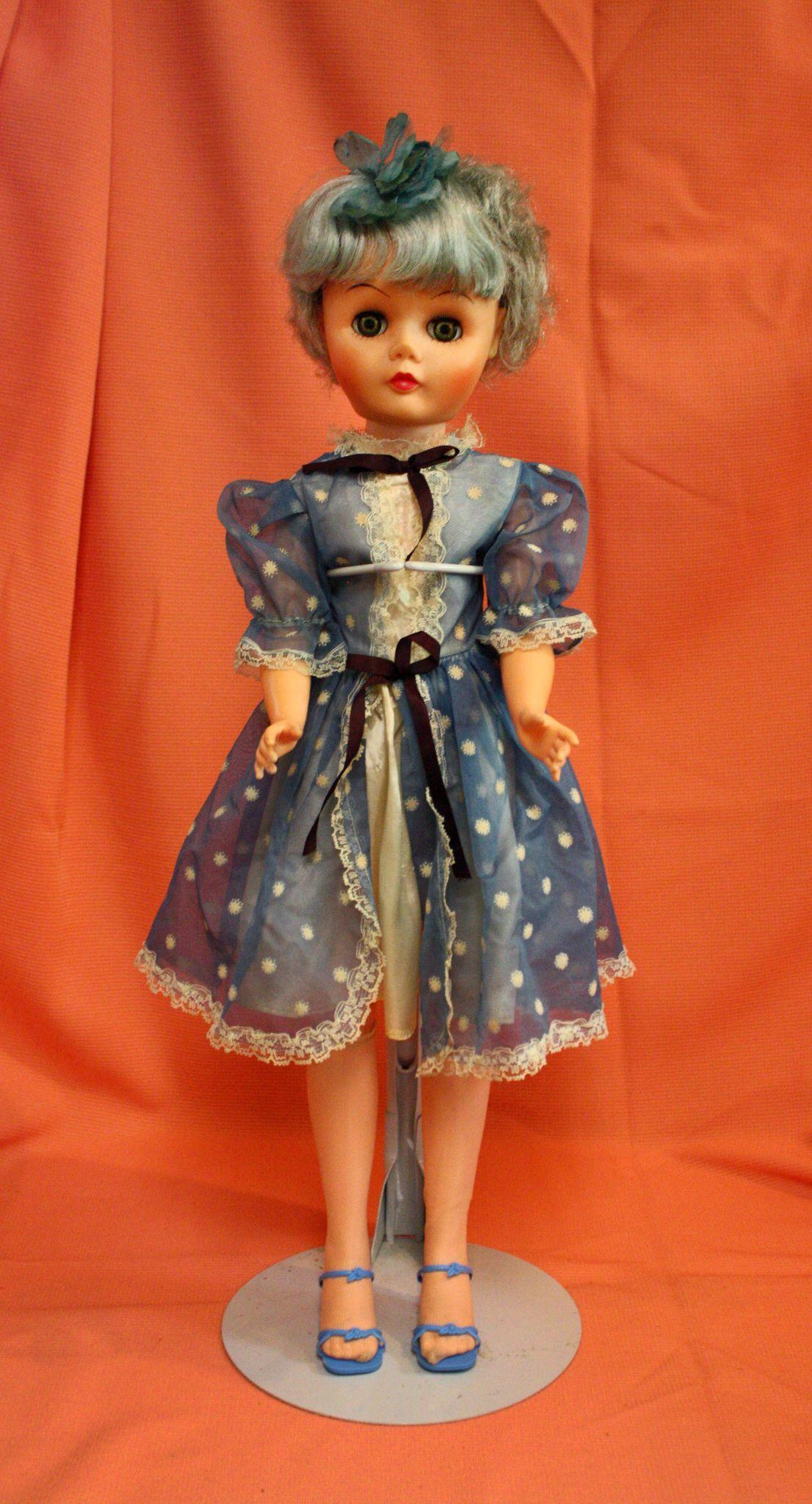 Vintage Vinyl 1950's Fashion Doll with Original Blue Hair and Dress