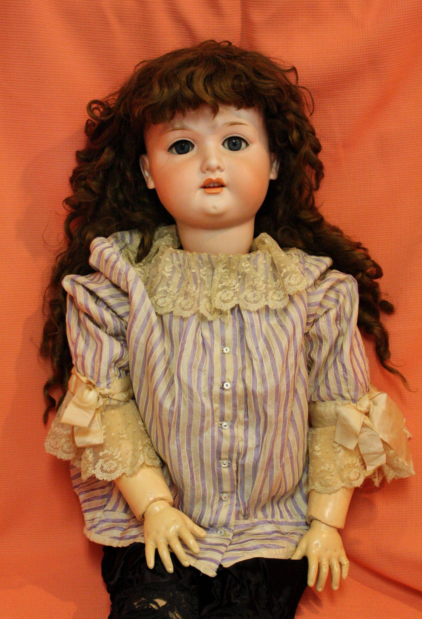 Victorian Child's Blouse in Lavender Stripe Silk for an Antique Doll