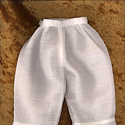 Antique White Cotton Doll Pantaloons with Eyelet Trim