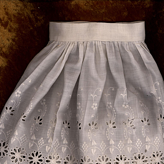 Antique White Cotton Eyelet Doll Slip or Skirt