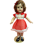 Composition Girl in Original Red Organdy Dress