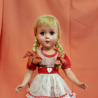 Hard Plastic Girl all Original in ABC Print Dress