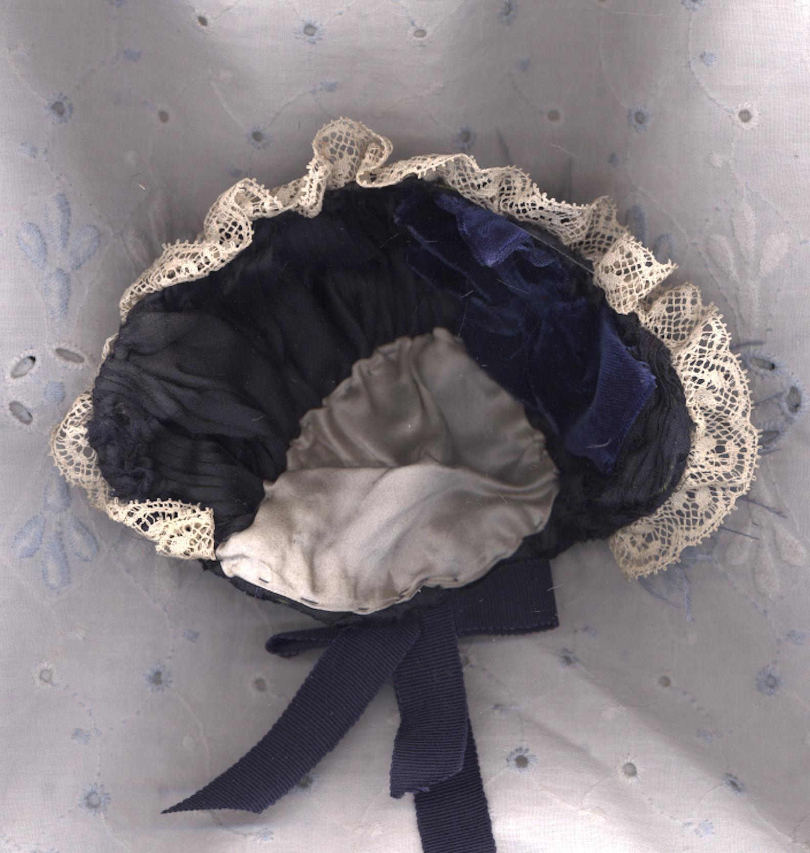 Antique Blue Velvet and Silk Doll Bonnet with Antique Blue Glass Hat Pin