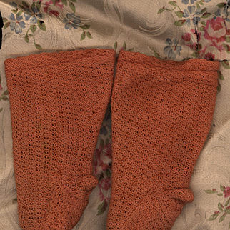 Antique Doll Stockings in Unusual Spice Brown Color