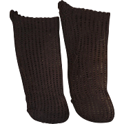 Antique Factory Made Black Knit Doll Stockings