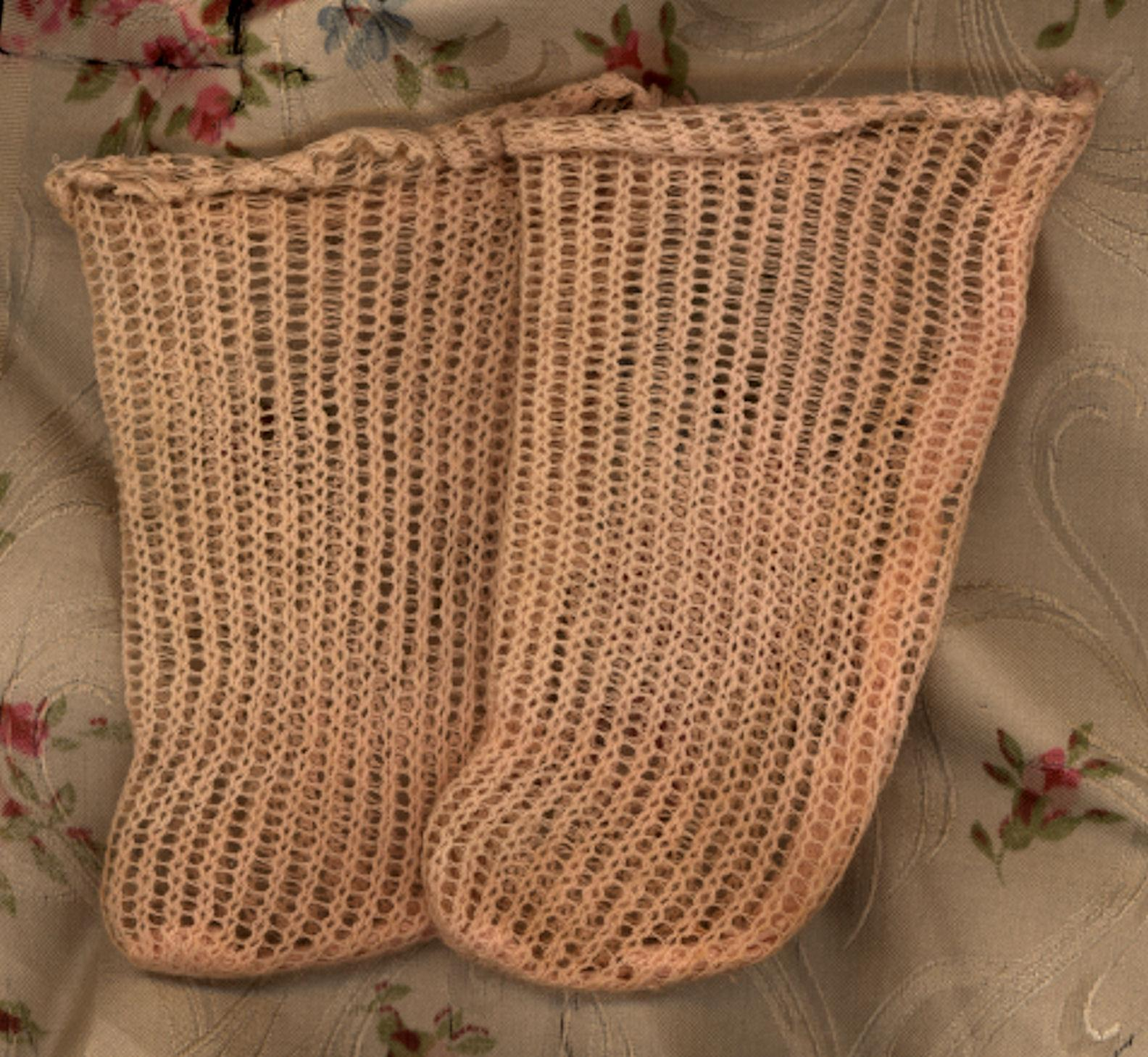 Antique Factory Made Pink Knit Doll Stockings