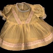 Vintage Yellow Organdy Doll Dress