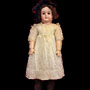 Antique Bisque Karl Hartmann in Original Cotton Floral Print Dress