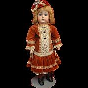 Antique Bisque Edmund Ulrich Steiner  Majestic in Vintage Velvet Dress