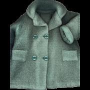Vintage Factory Made Green Fleece Doll Coat