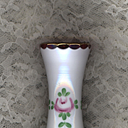 Antique Bohemian Cut White to Cranberry Bud Vase