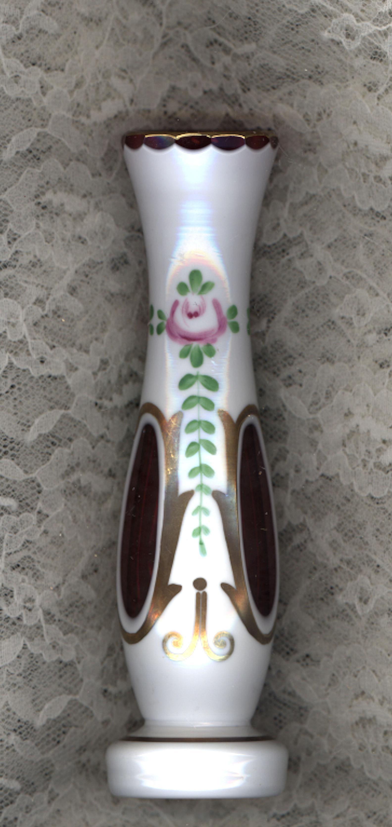 Antique Bohemian Cut White to Cranberry Bud Vase