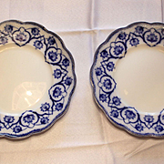 Set of Two Antique Flow Blue Plates in the Haddon Pattern