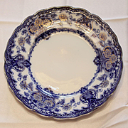 Set of Antique Flow Blue Plate in Seville Pattern by New Warf Pottery