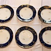 Set of Six Limoges Cobalt Blue Plates