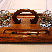 Victorian Double Stand Inkwell Set