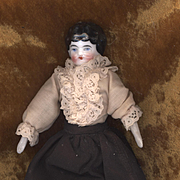 Antique China Head Doll on Original Body with Blue Bisque Boots