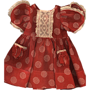 Vintage Factory Made Red and White Organdy Print Doll Dress