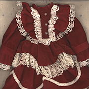 Vintage Red Velvet Doll Dress with White Lace Trim