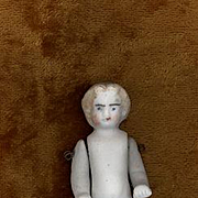 Antique Miniature Stone Bisque Doll with Molded Boots