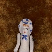 Tiny Antique Stone Bisque Bonnet Doll