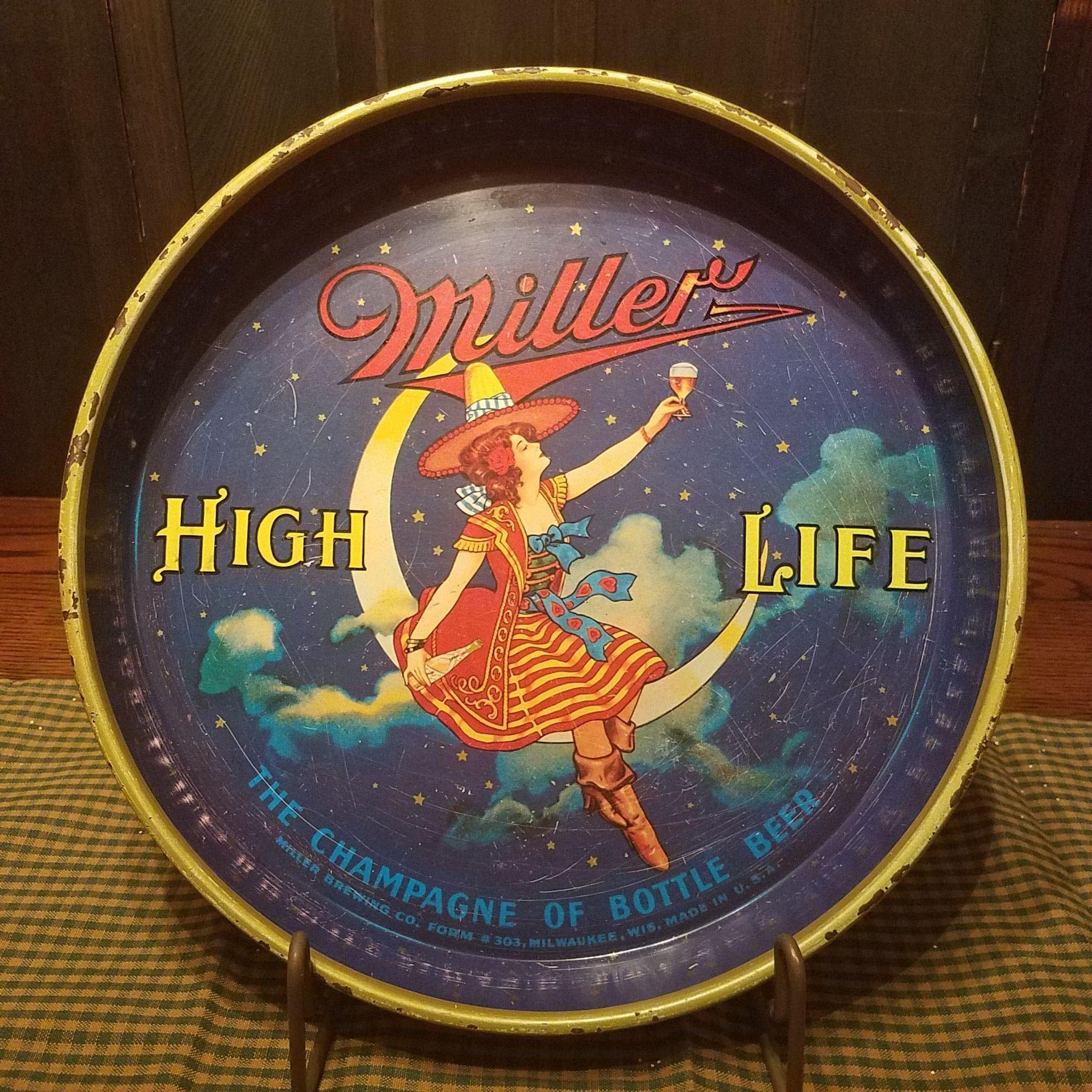 """Vintage 13"""" Maiden on the Moon Miller High Life Beer Tray"""