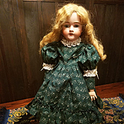 Vintage Green Cotton Print Doll Dress