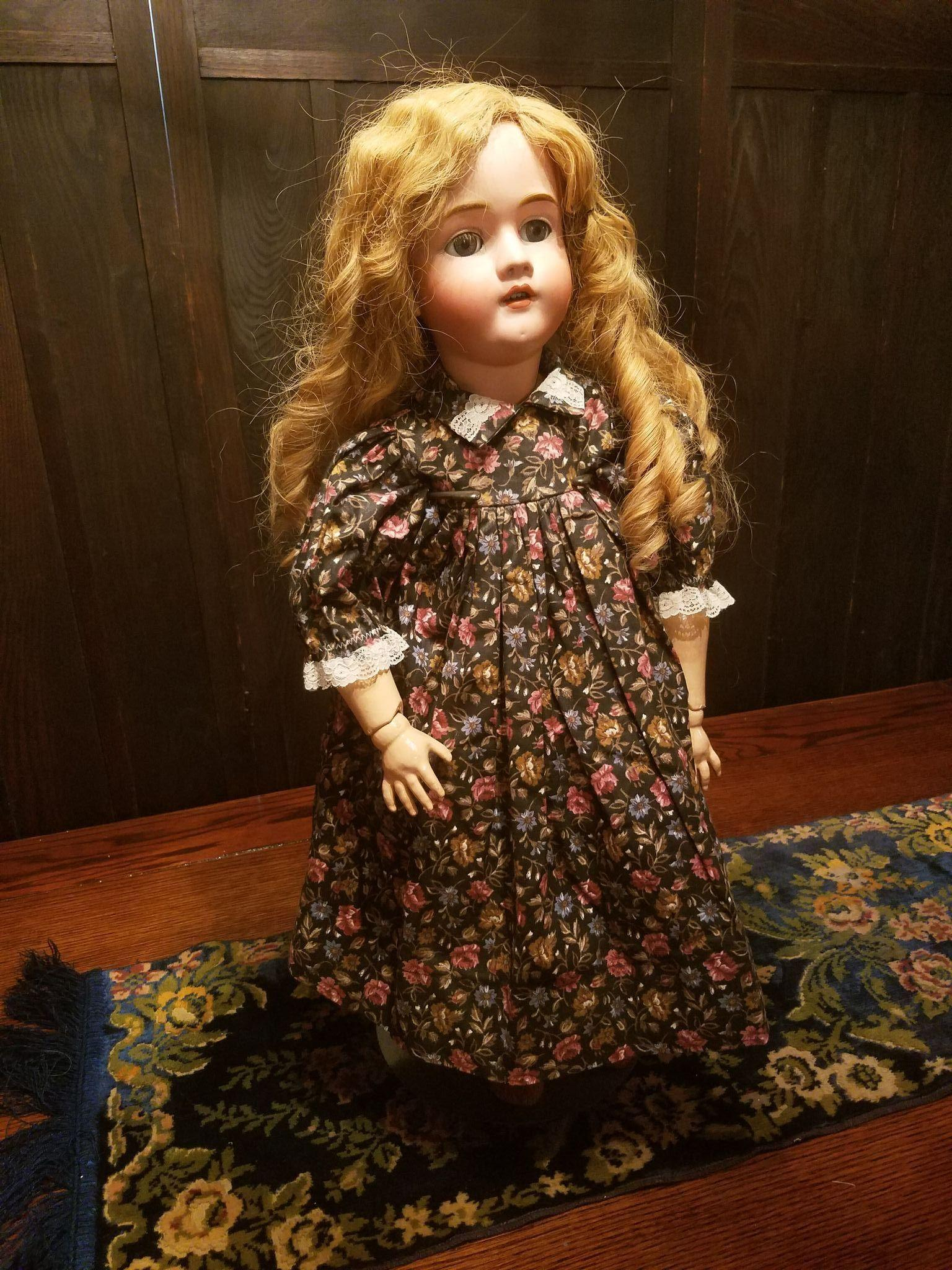 Vintage Black and Rose Cotton Print Doll Dress