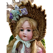 Vintage French Style Doll Bonnet in Beige Velvet