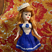 Vintage Blue Wool Doll Dress and Hat