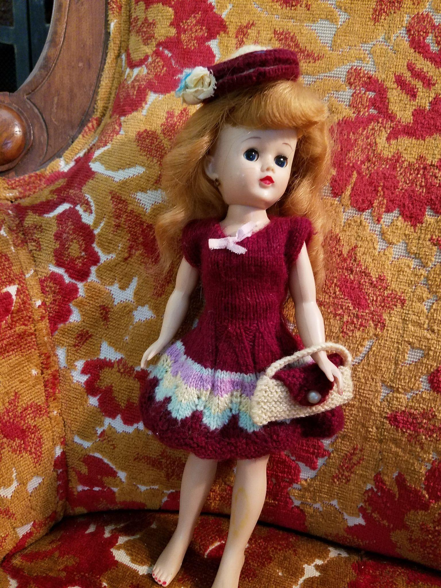 Vintage Dark Red Wool Doll Dress Bonnet and Purse