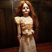 Antique Eggshell Cotton Doll Slip with Lace and Pleats