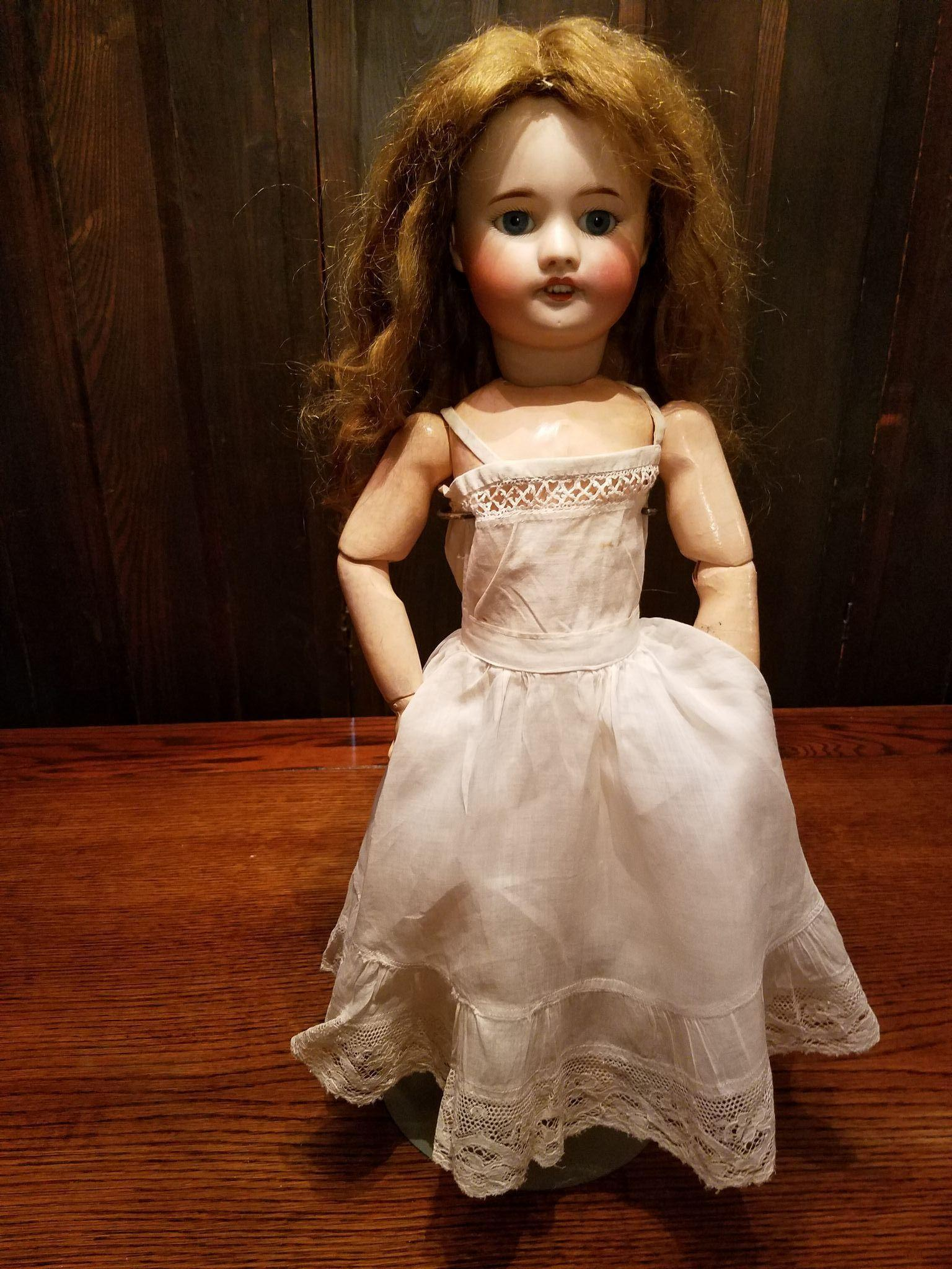 Antique White Cotton Doll Slip with Wide Lace Trim