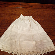 Antique Eggshell Cotton Doll Slip with Pleats and Embroidery