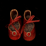 Vintage Ruby Red Leather Doll Shoes