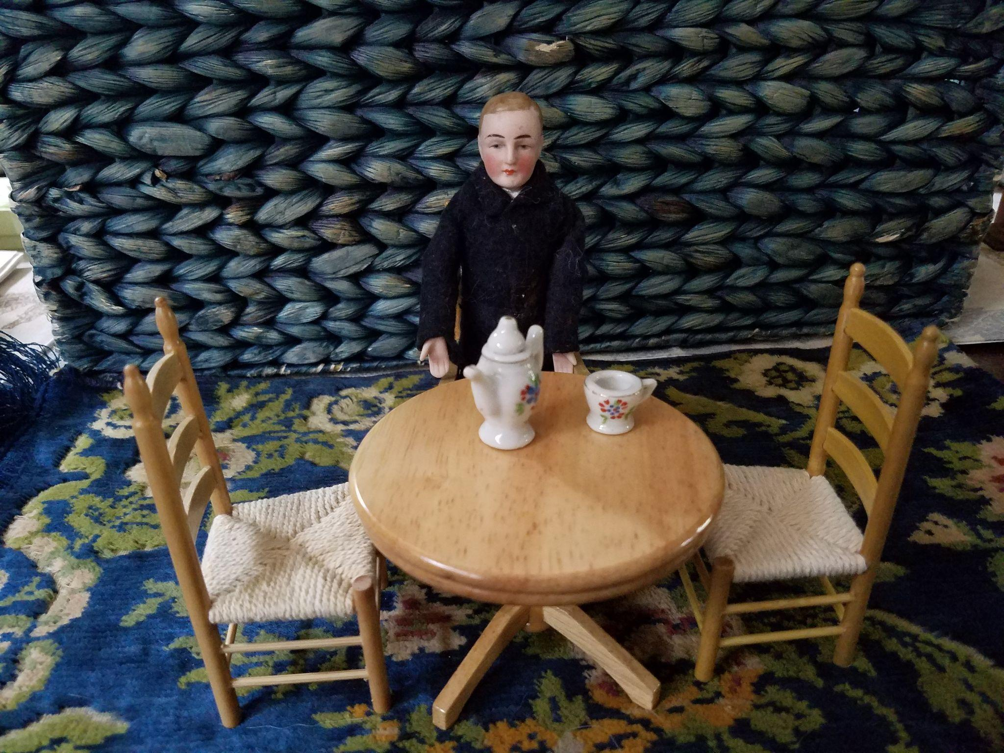 Vintage Wooden Table and Chairs for Dollhouse