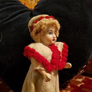 Miniature Antique Bisque Doll All Original
