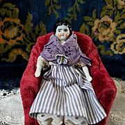Miniature Antique China Head in Antique Clothing