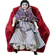 Miniature Antique China Head in Antique Clothing