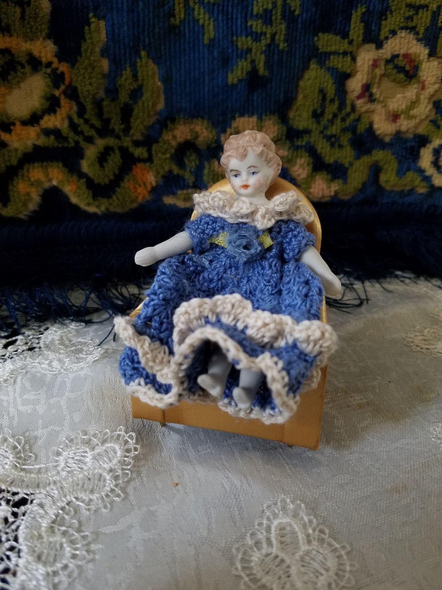 Vintage Bisque Dollhouse Doll
