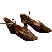 Vintage Leatherette Boudoir Doll Shoes