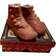 Antique Pumpkin Spice Leather Child's Boots